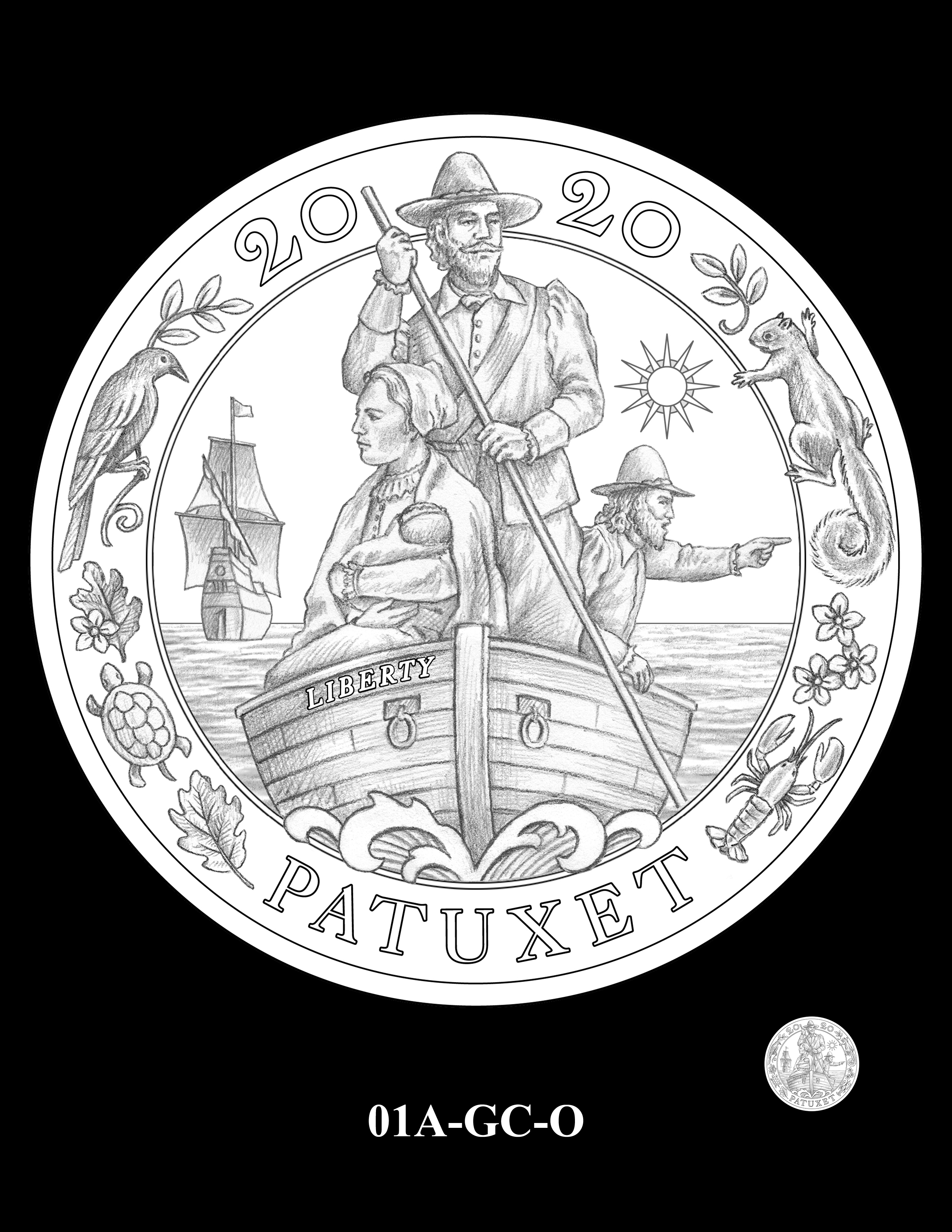 01A-GC-O - 2020  Mayflower 400th Anniversary 24K Gold Coin & Silver Medal Program
