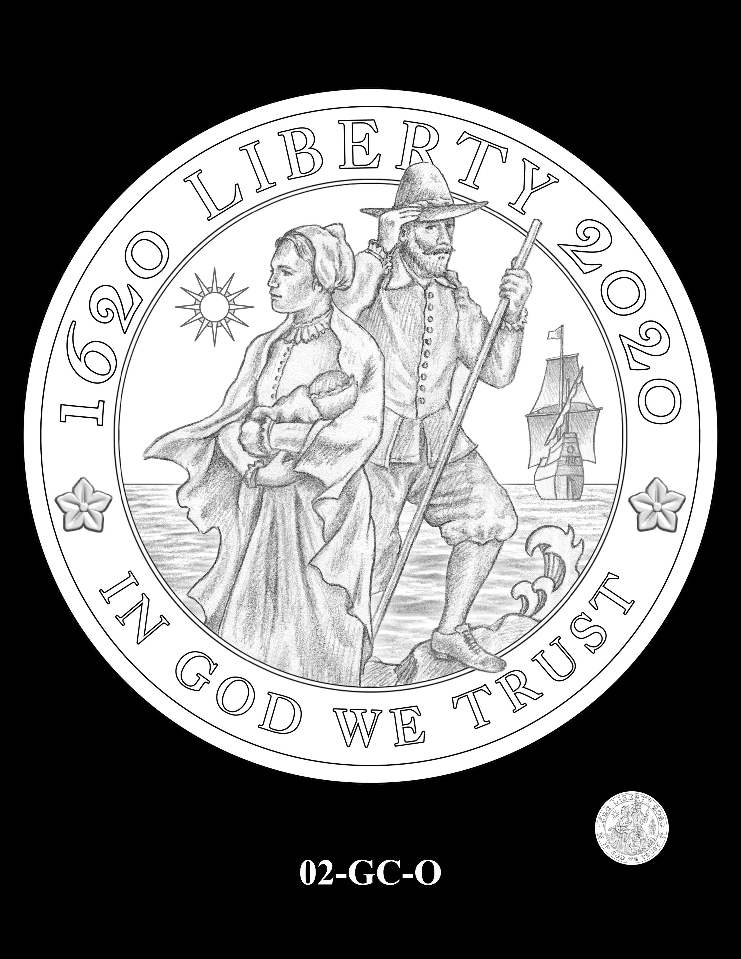 02-GC-O - 2020 Mayflower 400th Anniversary 24K Gold Coin & Silver Medal Program