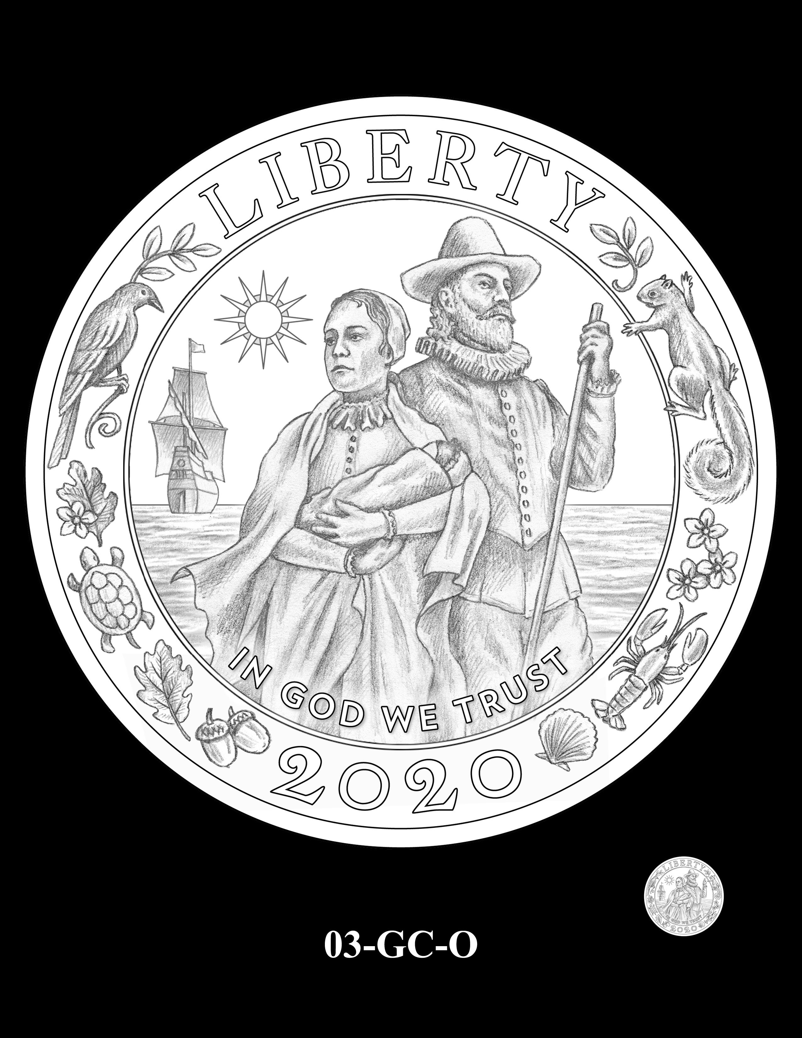 03-GC-O - 2020 Mayflower 400th Anniversary 24K Gold Coin & Silver Medal Program