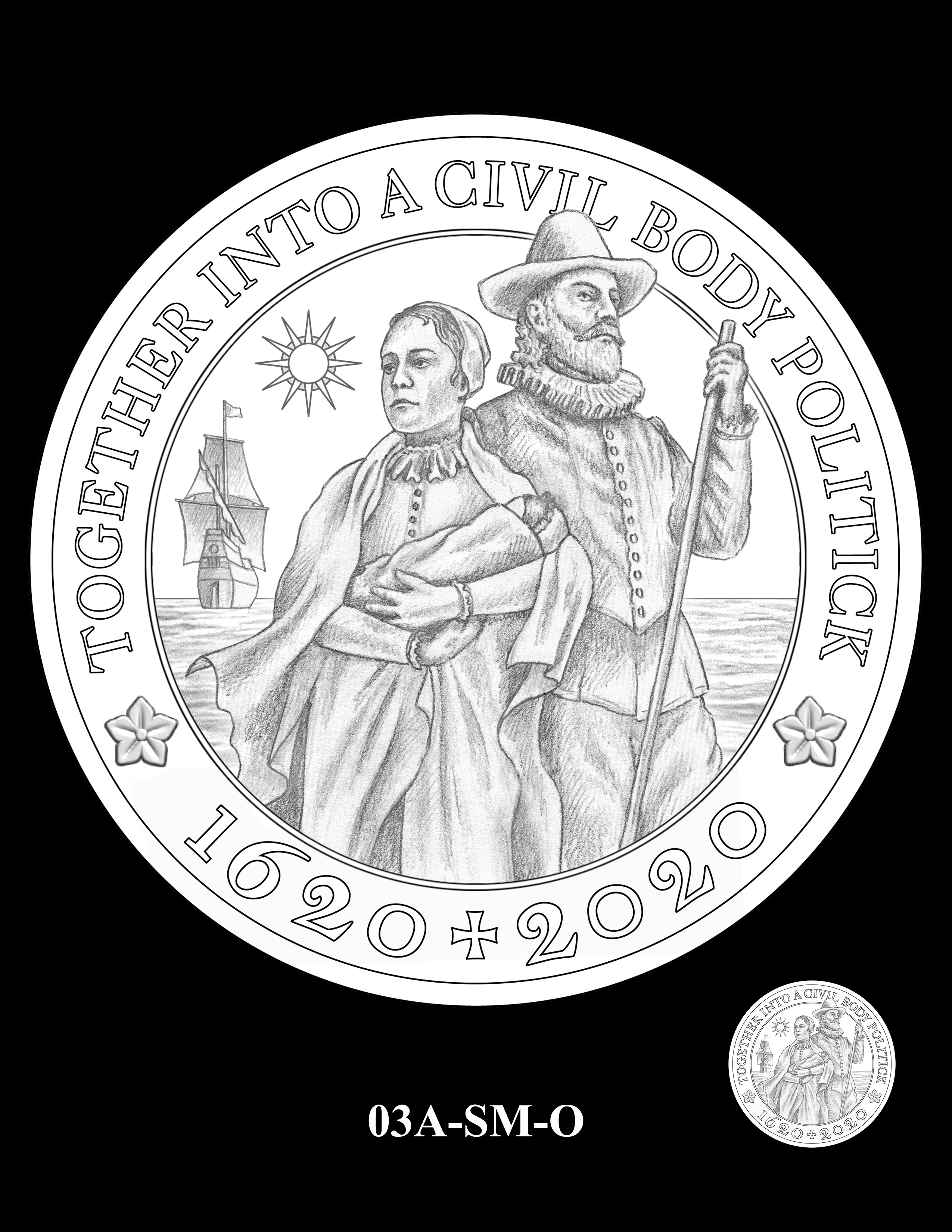 03A-SM-O - 2020 Mayflower 400th Anniversary 24K Gold Coin & Silver Medal Program
