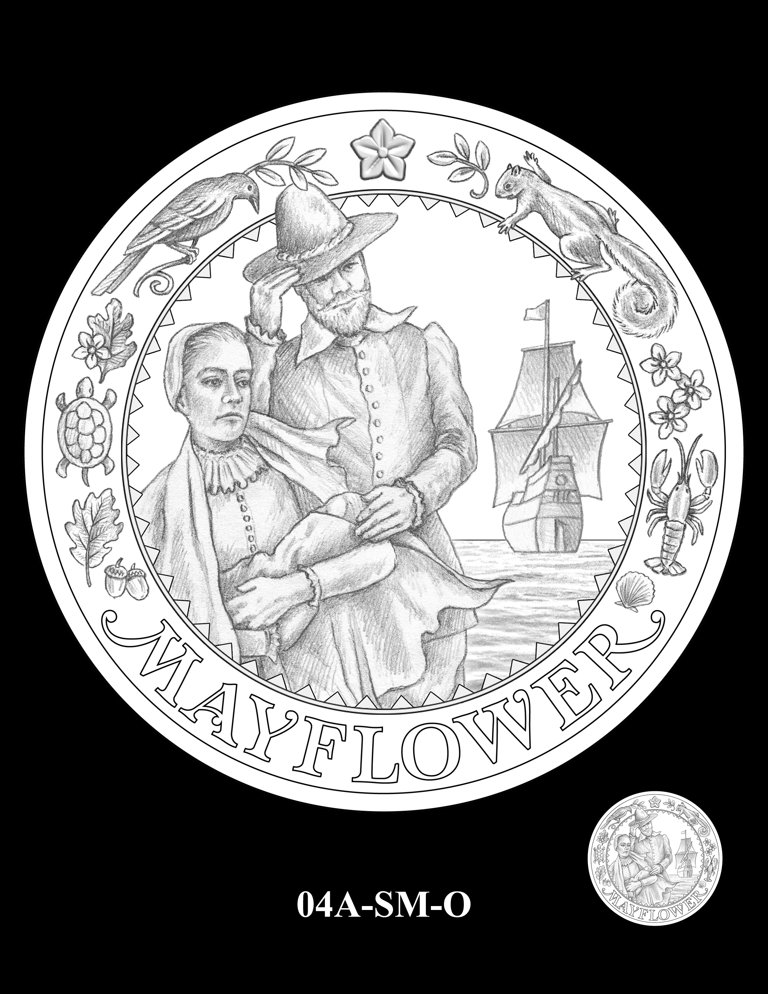 04A-SM-O - 2020 Mayflower 400th Anniversary 24K Gold Coin & Silver Medal Program