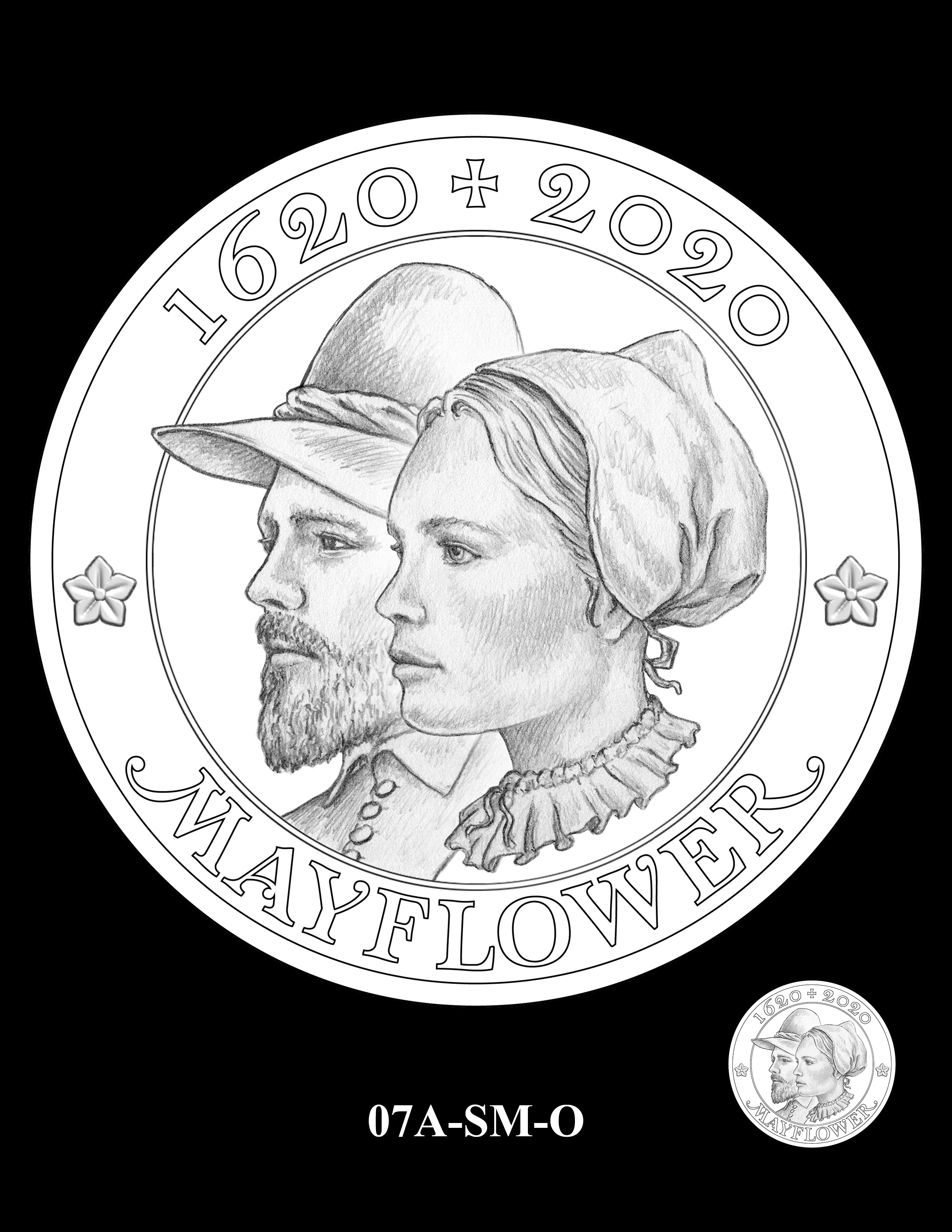 07A-SM-O - 2020 Mayflower 400th Anniversary 24K Gold Coin & Silver Medal Program