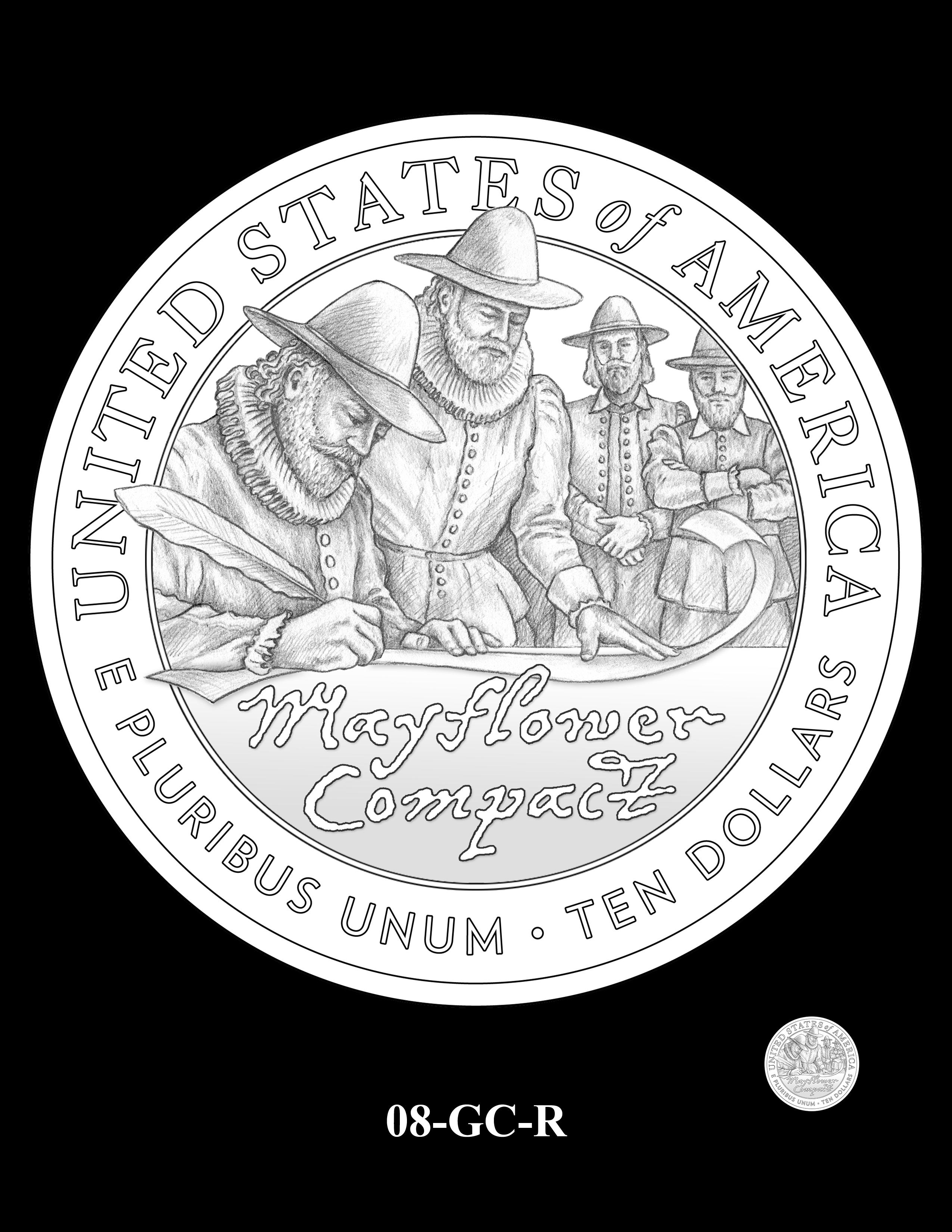 08-GC-R - 2020 Mayflower 400th Anniversary 24K Gold Coin & Silver Medal Program