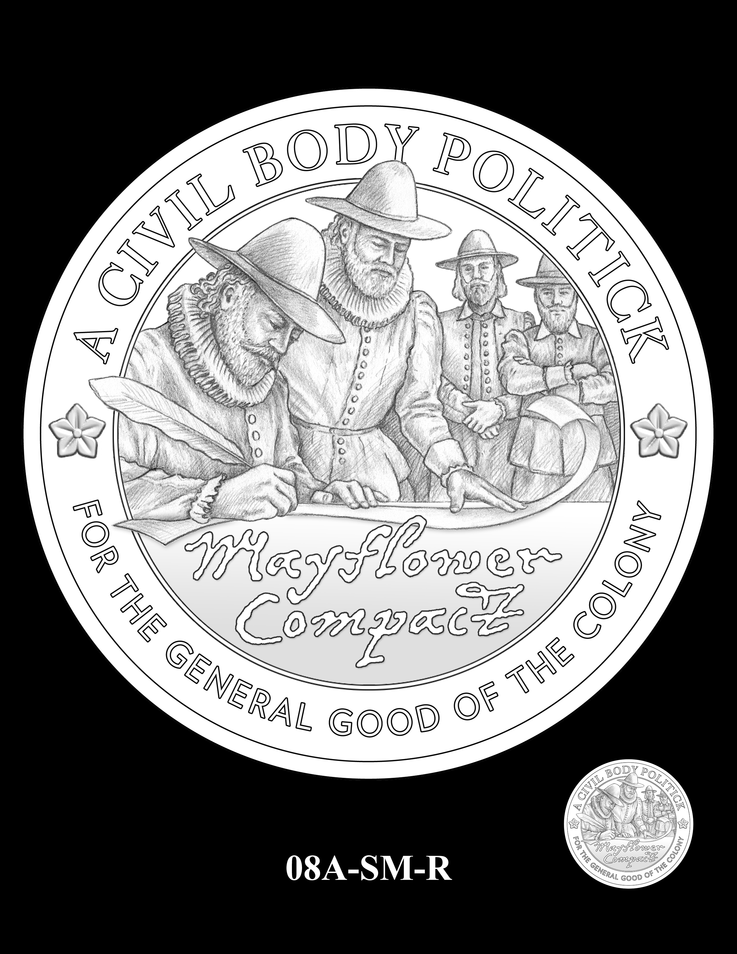 08A-SM-R - 2020 Mayflower 400th Anniversary 24K Gold Coin & Silver Medal Program
