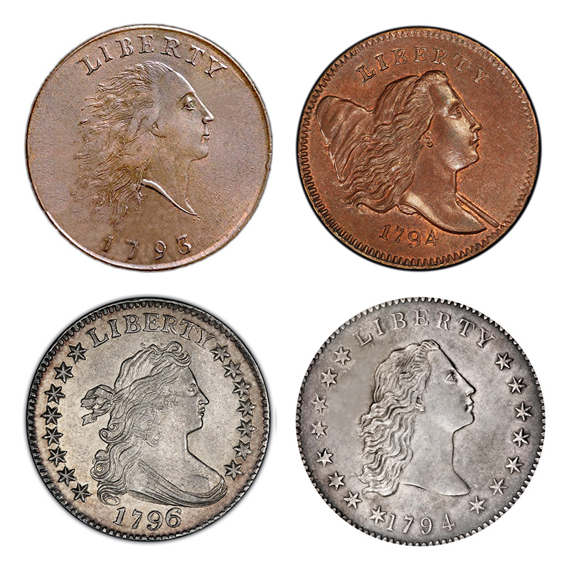Obverse designs in the 1790s: Flowing Hair (cent); Liberty Cap (half cent, cent); Draped Bust (cent, half dime, dime, quarter, half dollar, dollar); Flowing Hair (half dime, half dollar, dollar).