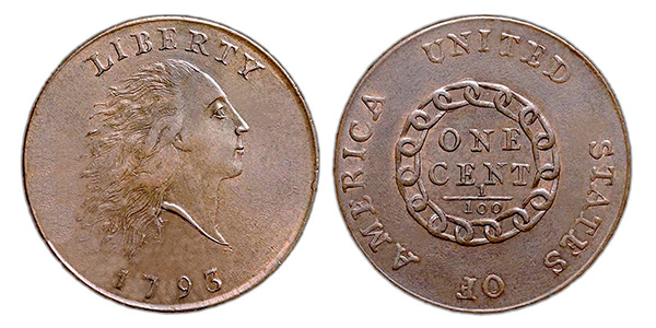 obverse and reverse of the 1793 flowing hair chain cent
