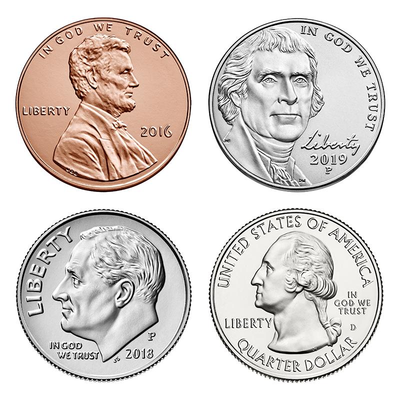Obverse designs in the 2000s: Lincoln (cent), Jefferson (nickel), Roosevelt (dime), Washington (quarter).