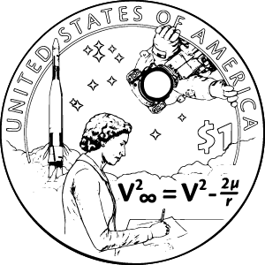 2019 Native American Contributions to the U.S. space program $1 Coin Mary Golda Ross outline kids coloring page icon
