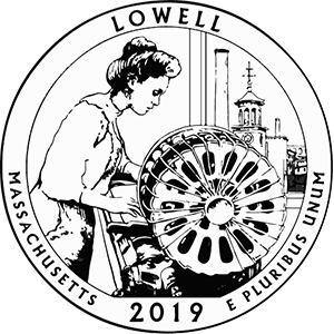 2019 America the Beautiful Lowell National Historical Park Massachusetts Kids Coloring Page icon