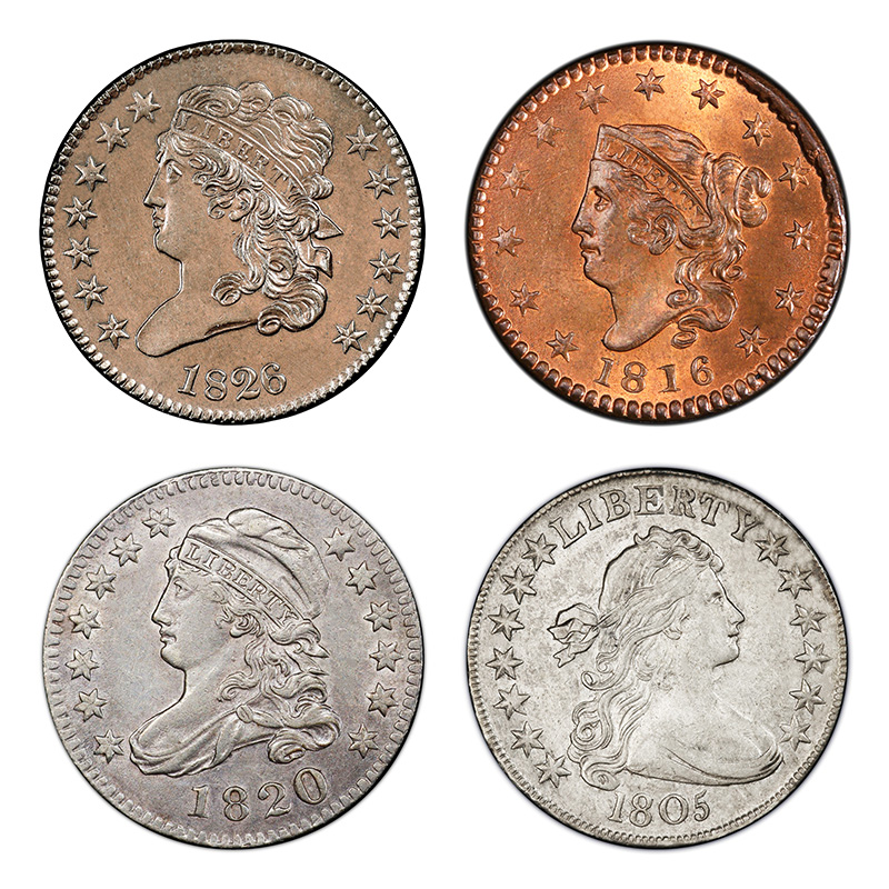 Obverse designs in the early 1800s: Classic Head (half cent, cent); Coronet Head (cent); Capped Bust (half dime, dime, quarter, half dollar); Draped Bust (half cent, cent, half dime, dime, quarter, half dollar, dollar).