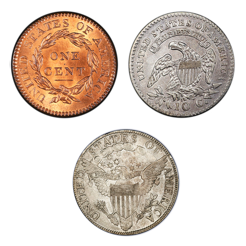 Reverse designs in the early 1800s.