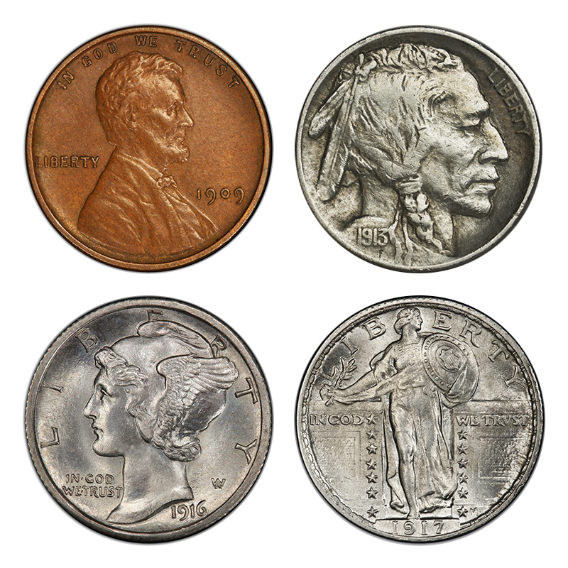Obverse designs in the early 1900s: Wheat Ears (cent), Buffalo (nickel), Mercury/Winged Liberty (dime), Standing Liberty (quarter).