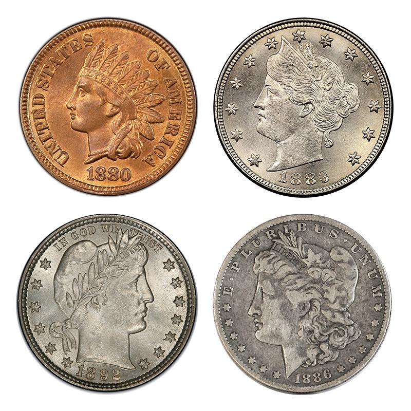 Obverse designs in the late 1800s: Indian Head (cent); Liberty Head (nickel); Barber (dime, quarter, half dollar); Morgan (dollar).