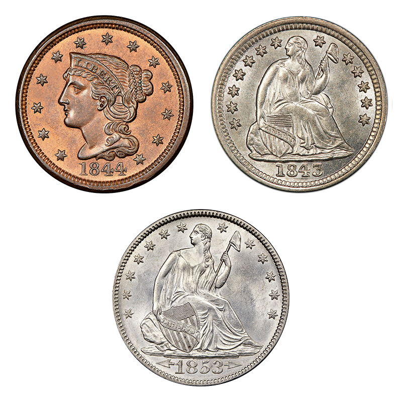 Obverse designs in the mid 1800s: Braided Hair (half cent, cent); variations of Seated Liberty (half dime, dime, quarter, half dollar, dollar).