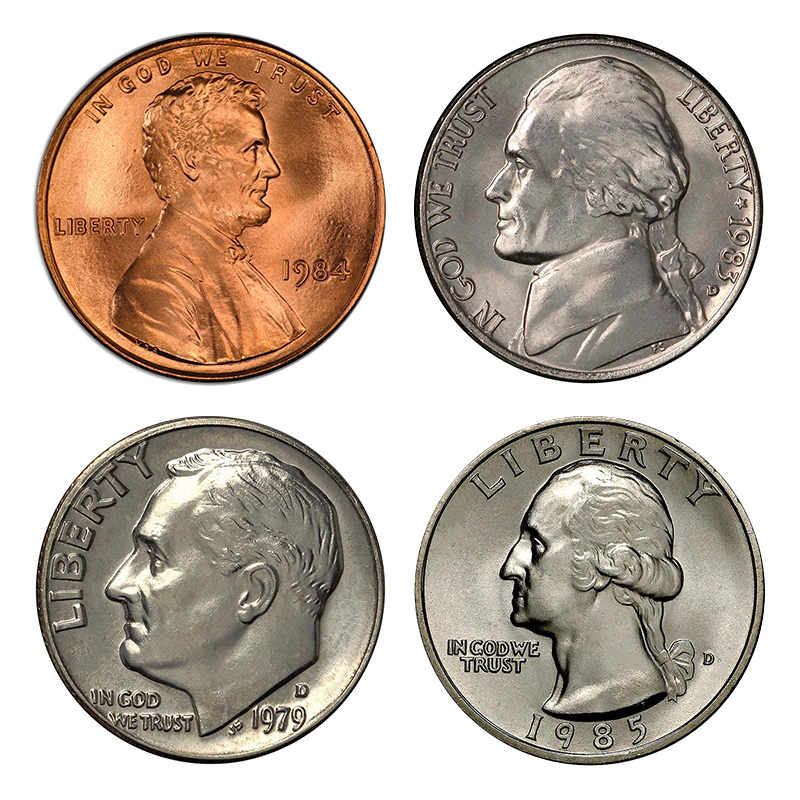 Obverse designs in the mid and late 1900s: Lincoln (cent), Jefferson (nickel), Roosevelt (dime), Washington (quarter).