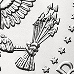 close up of arrows on the kennedy half dollar reverse