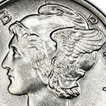 close up of cap with wings on mercury dime obverse