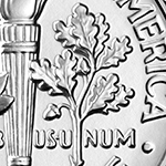 close up of oak branch on roosevelt dime reverse