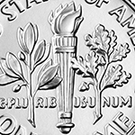 close up of the torch on the roosevelt dime reverse