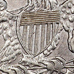 close up of the shield on the capped bust dime reverse