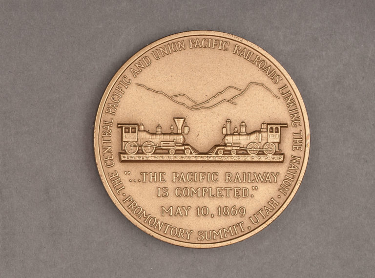 1969 Transcontinental Railroad Anniversary Medal Reverse
