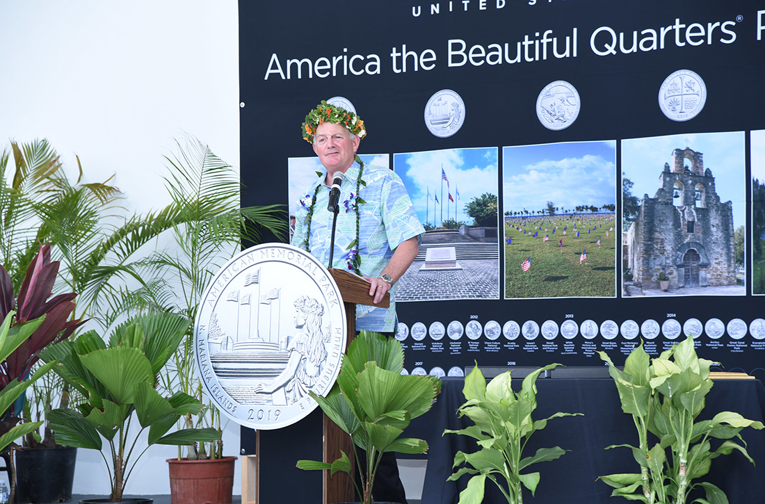 United States Mint Director David Ryder addresses the crowd at the American Memorial Park quarter launch.