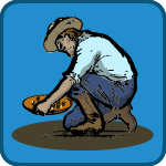 Gold Rush kids game icon; drawing of man panning for gold