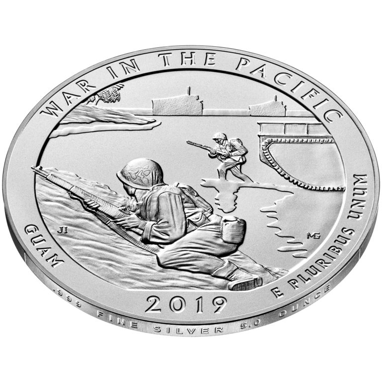 2019 America the Beautiful Quarters Five Ounce Silver Uncirculated Coin War Pacific Guam Reverse Angle