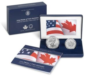 packaging and two coins included in the Pride of Two Nations Two-Coin Set