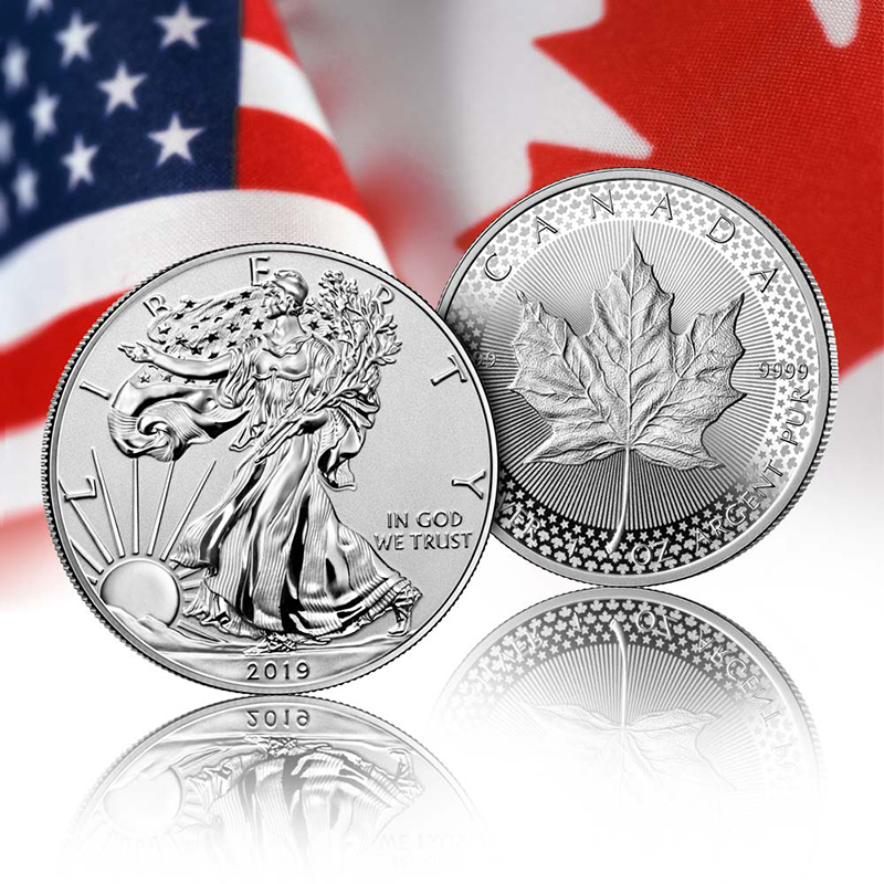 Pride of Two Nations American Eagle Silver Coin and Maple Leaf Silver Coin
