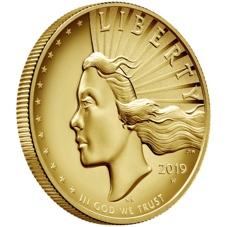 2019 American Liberty High Relief Gold Coin Obverse Angle