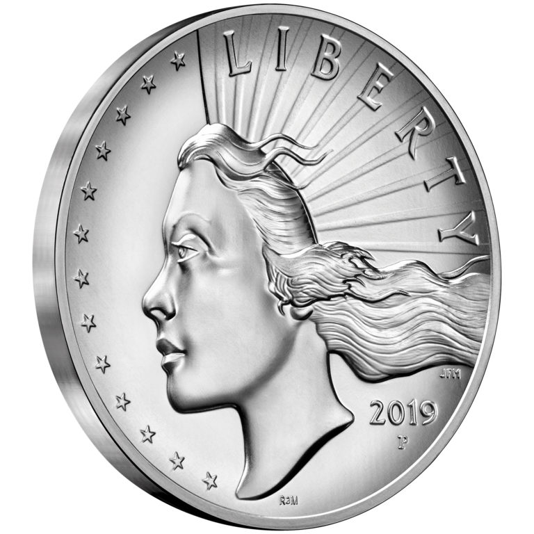2019 American Liberty High Relief Silver Medal Obverse Angle