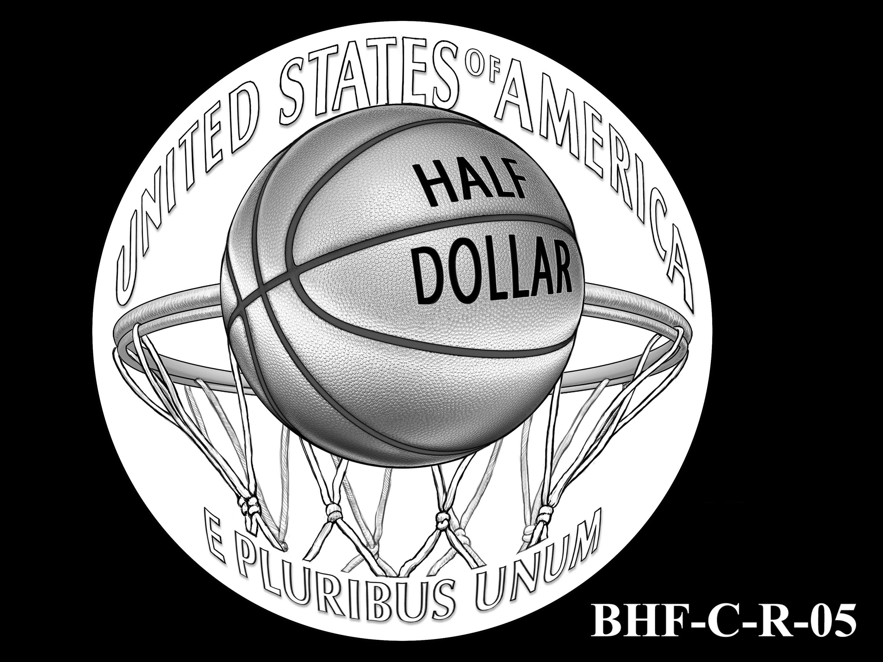 BHF-C-R-05 -- 2020 Basketball Hall of Fame Commemorative Coin Program - Clad Reverse