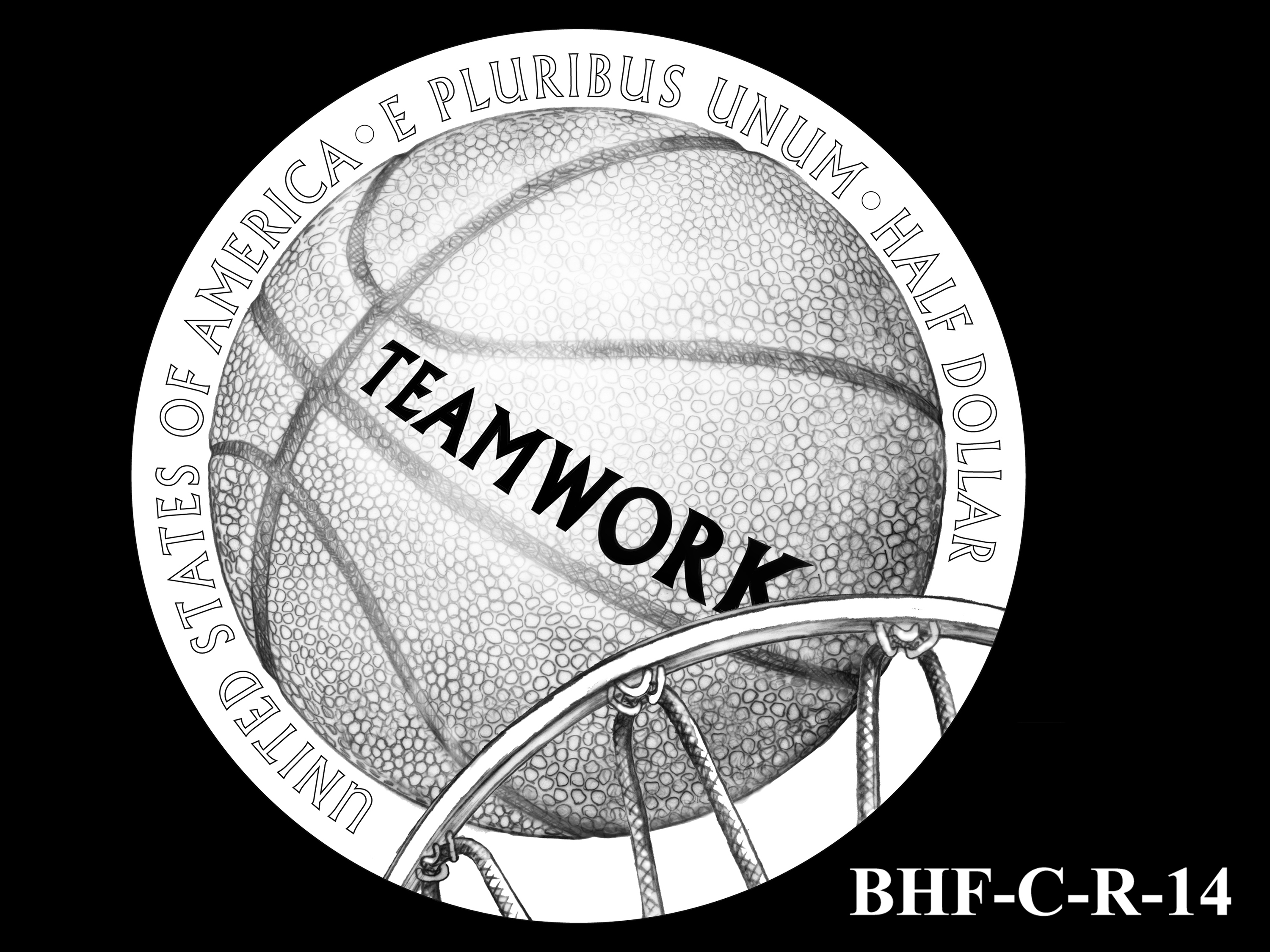 BHF-C-R-14 -- 2020 Basketball Hall of Fame Commemorative Coin Program - Clad Reverse