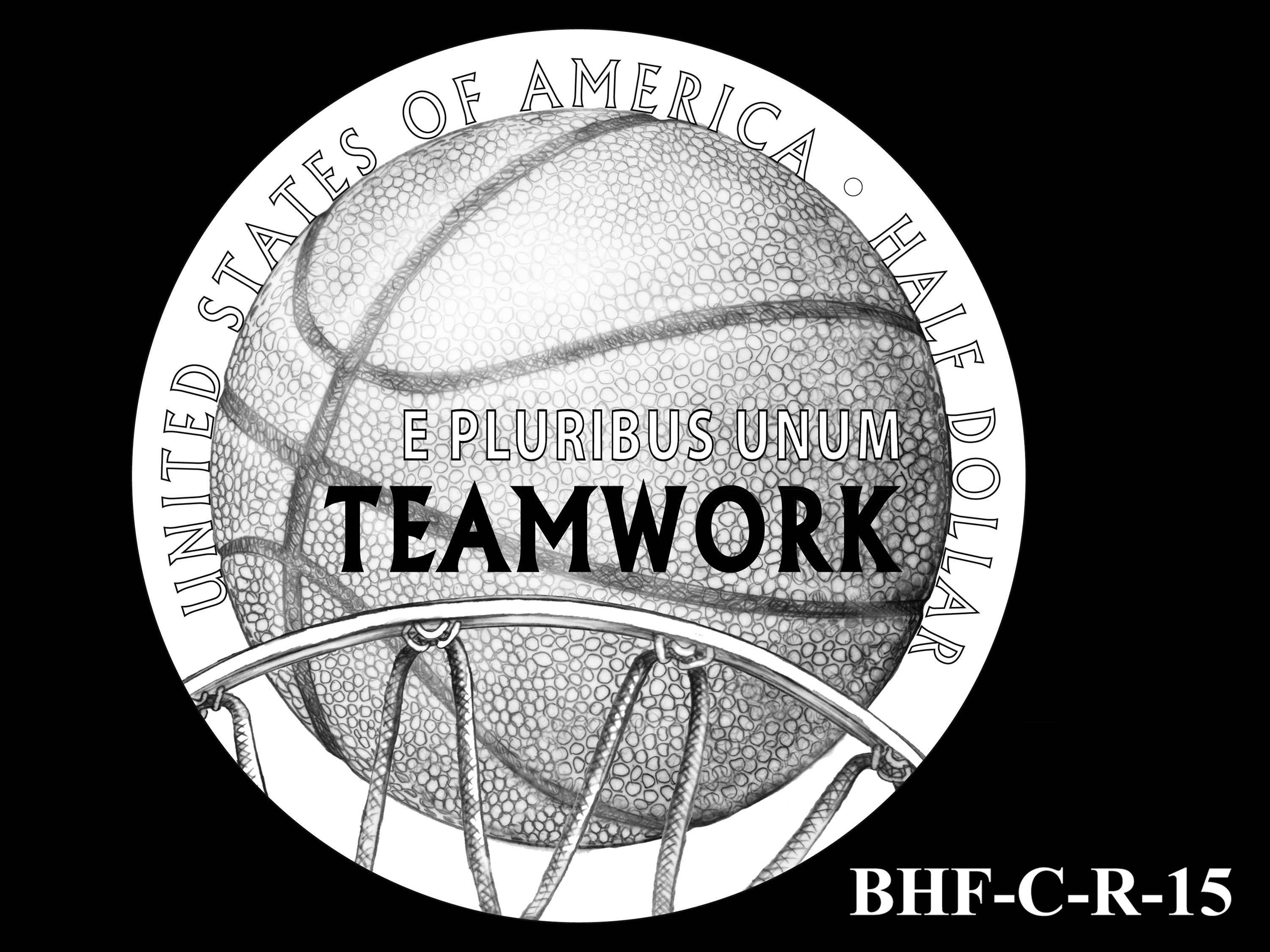 BHF-C-R-15 -- 2020 Basketball Hall of Fame Commemorative Coin Program - Clad Reverse