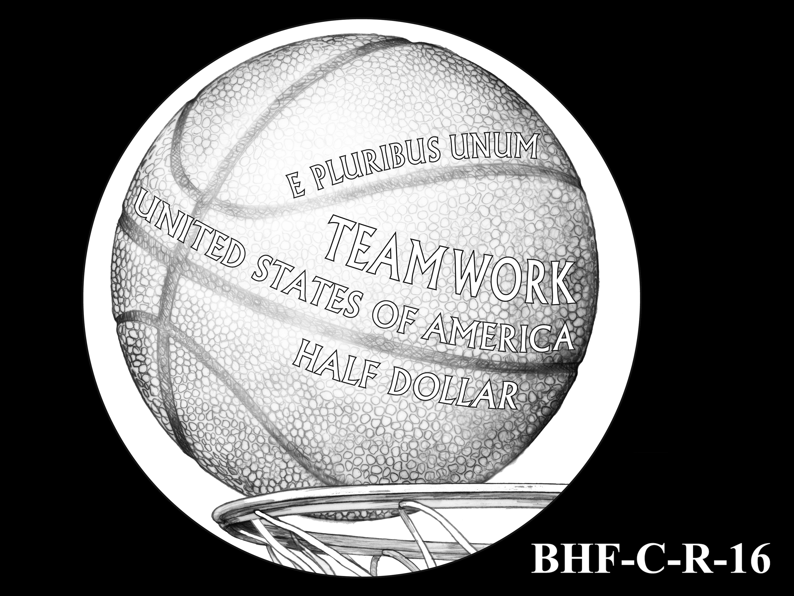 BHF-C-R-16 -- 2020 Basketball Hall of Fame Commemorative Coin Program - Clad Reverse