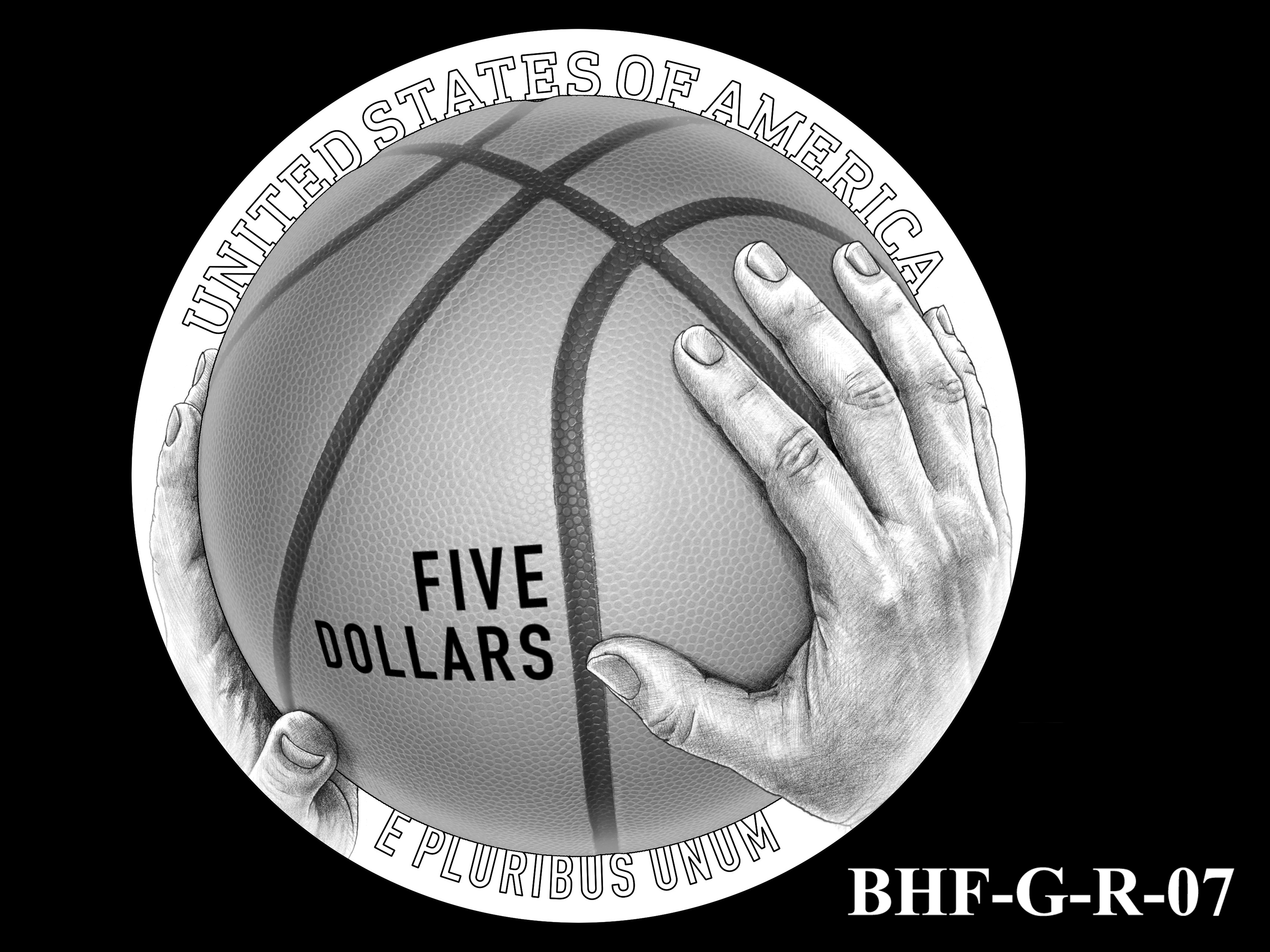 BHF-G-R-07 -- 2020 Basketball Hall of Fame Commemorative Coin Program - Gold Reverse