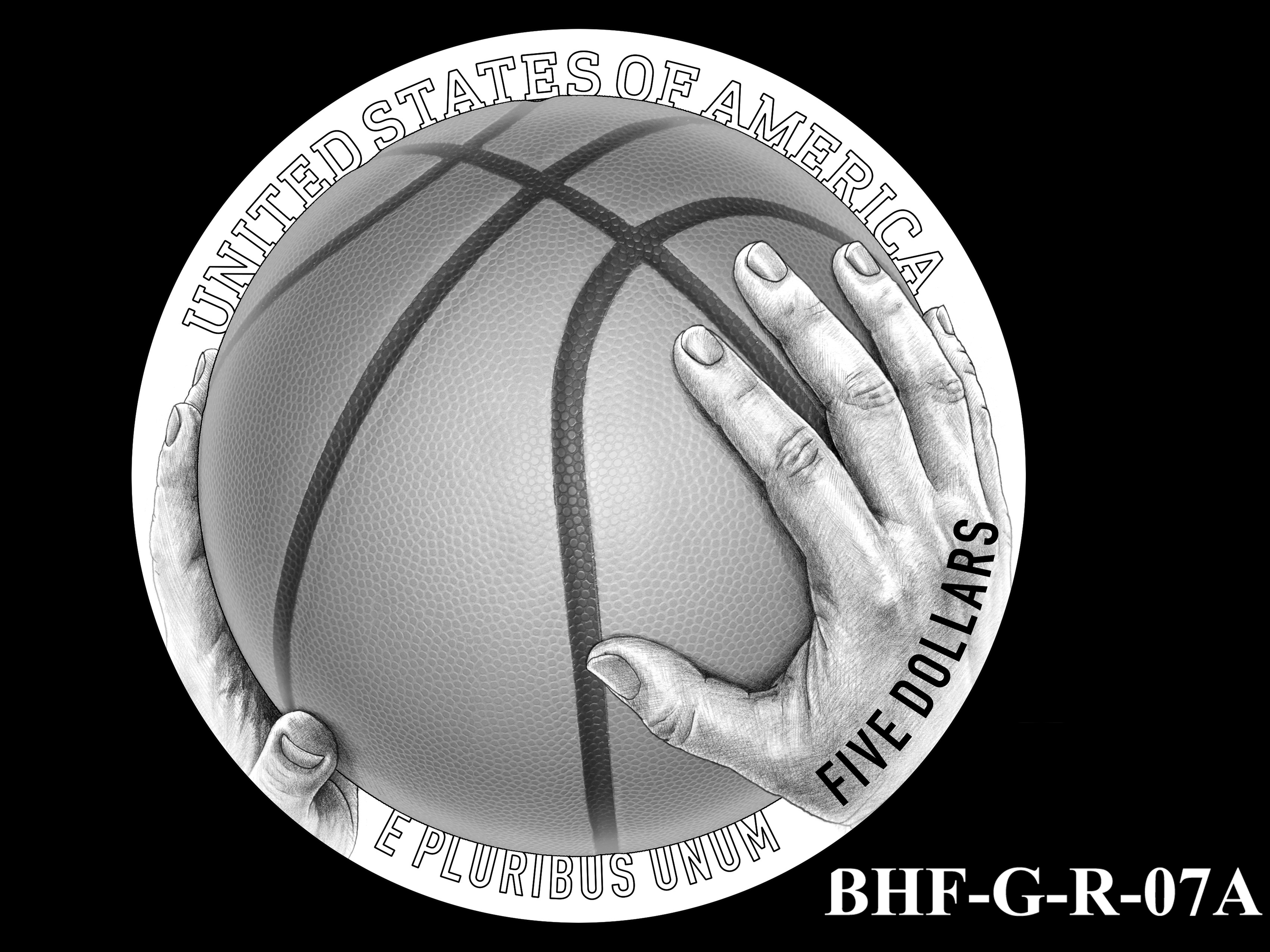 BHF-G-R-07A -- 2020 Basketball Hall of Fame Commemorative Coin Program - Gold Reverse