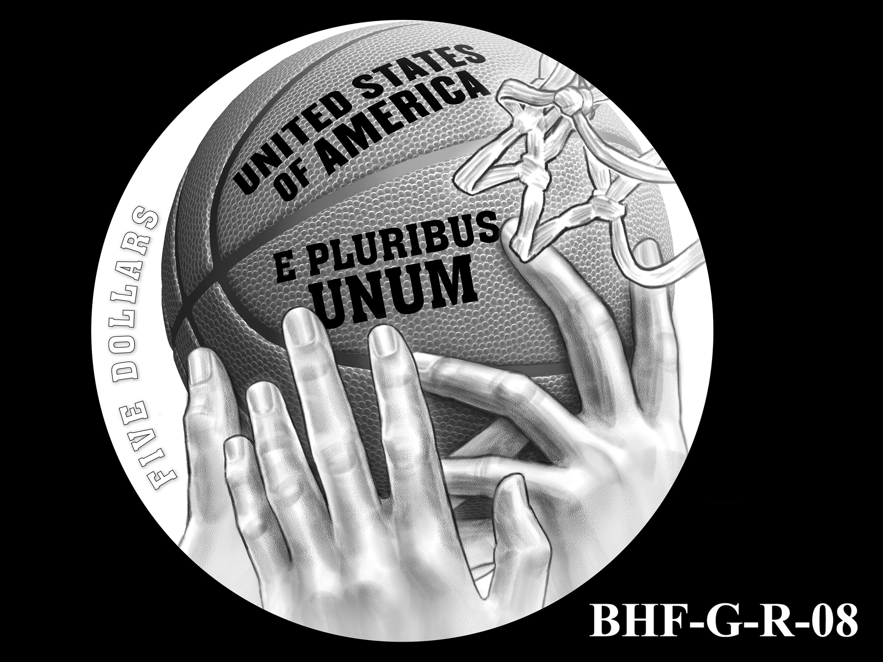 BHF-G-R-08 -- 2020 Basketball Hall of Fame Commemorative Coin Program - Gold Reverse