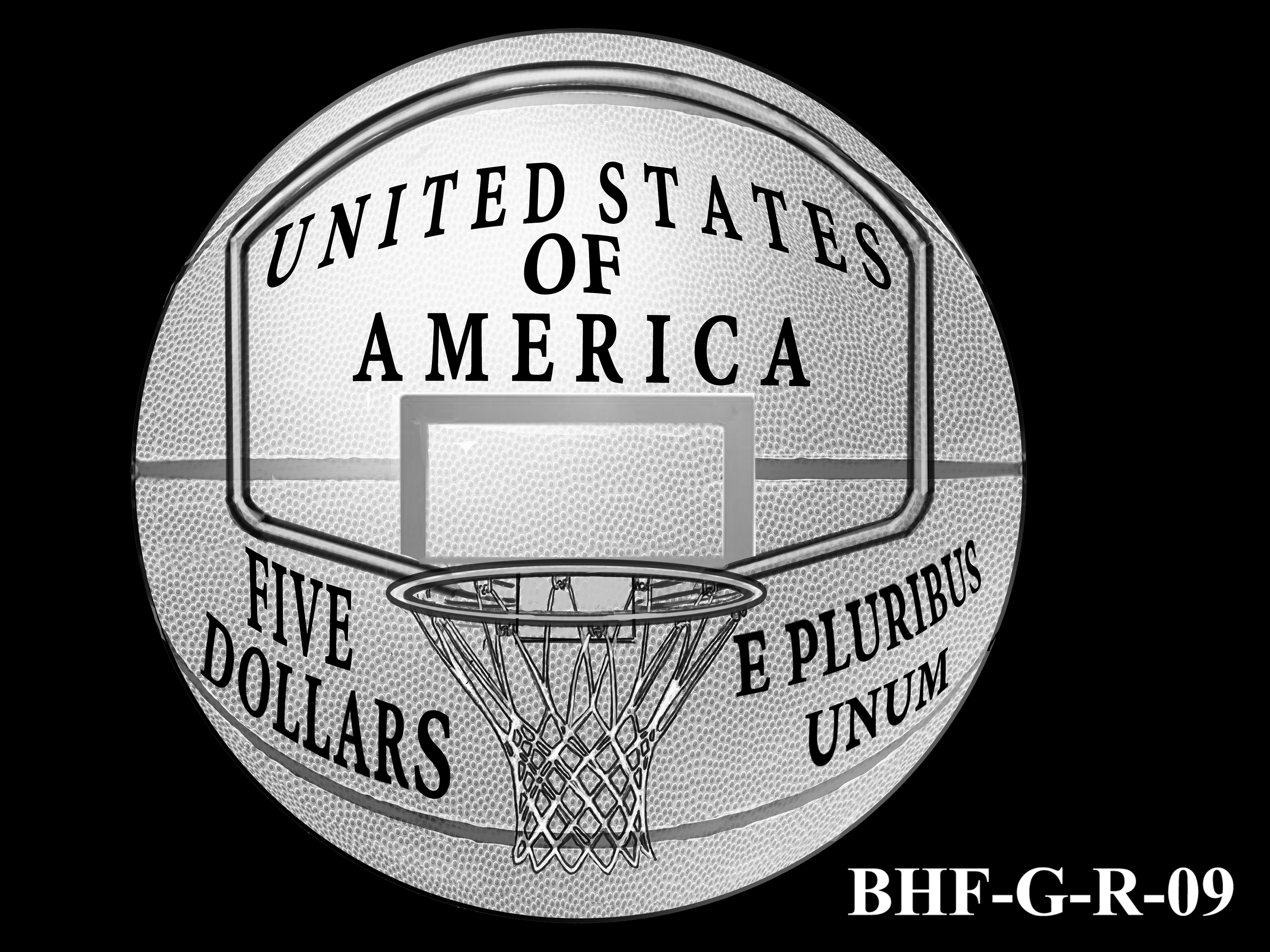 BHF-G-R-09 -- 2020 Basketball Hall of Fame Commemorative Coin Program - Gold Reverse