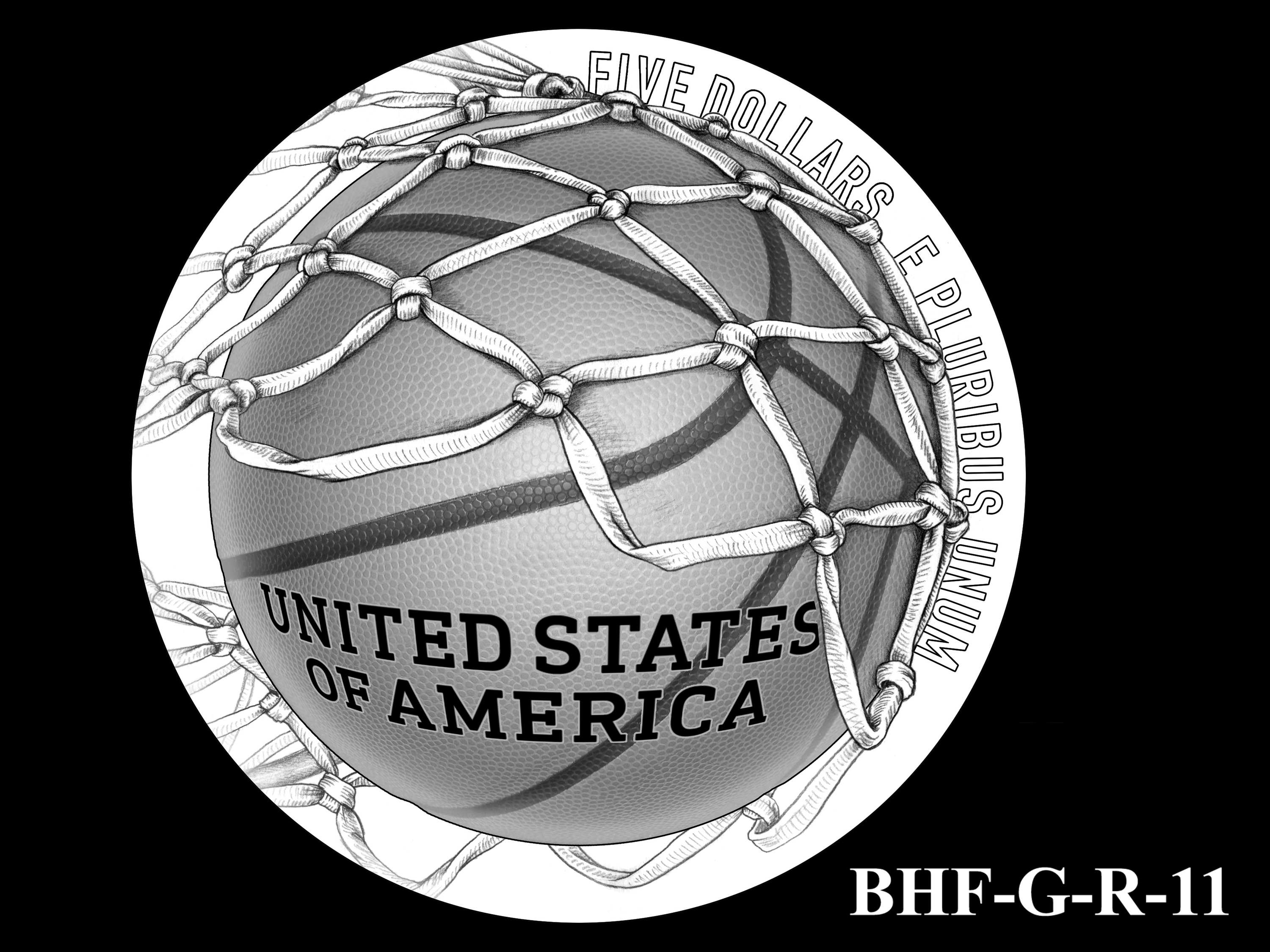 BHF-G-R-11 -- 2020 Basketball Hall of Fame Commemorative Coin Program - Gold Reverse