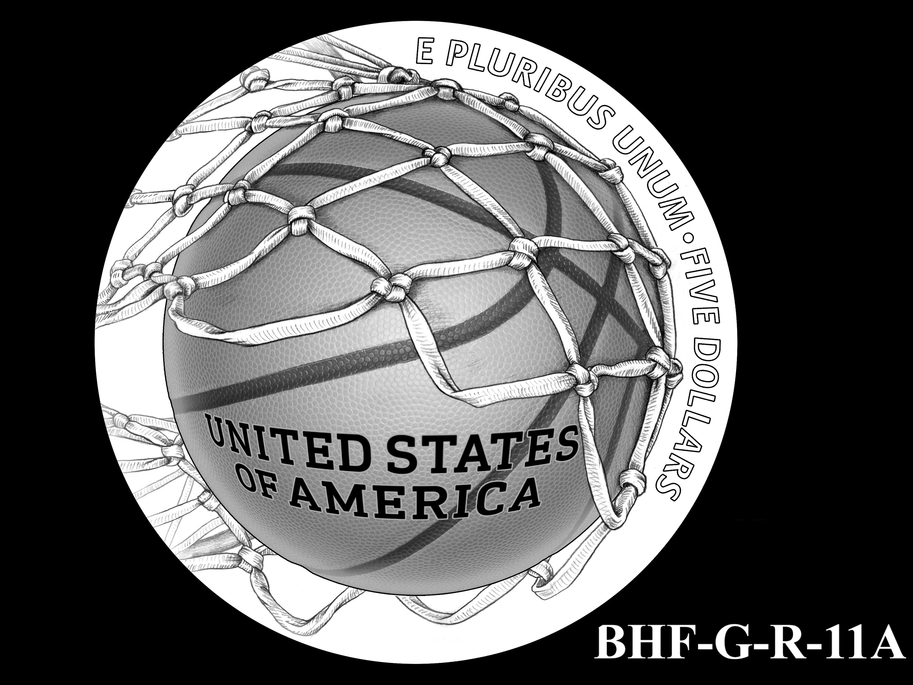 BHF-G-R-11A -- 2020 Basketball Hall of Fame Commemorative Coin Program - Gold Reverse