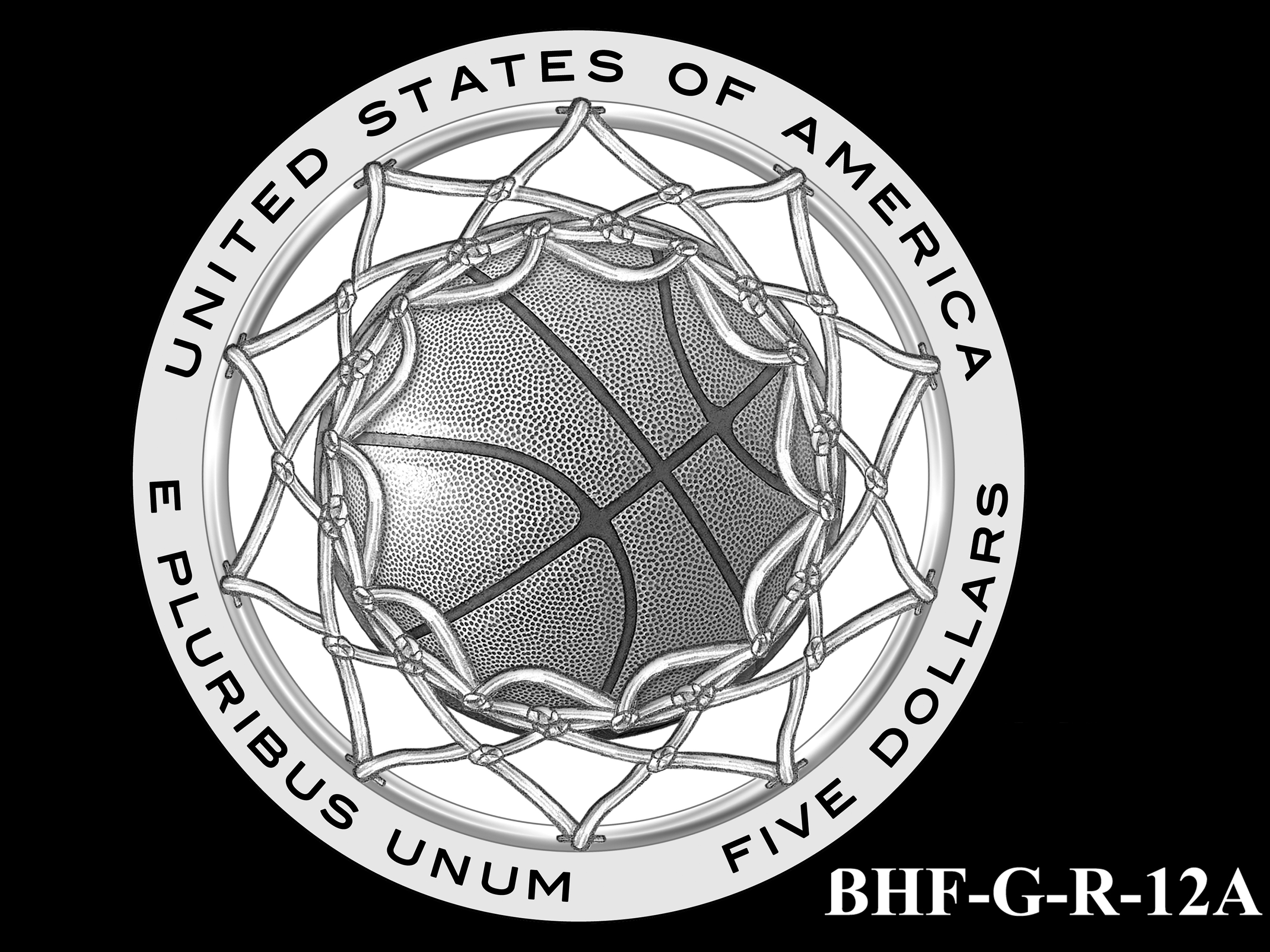 BHF-G-R-12A -- 2020 Basketball Hall of Fame Commemorative Coin Program - Gold Reverse