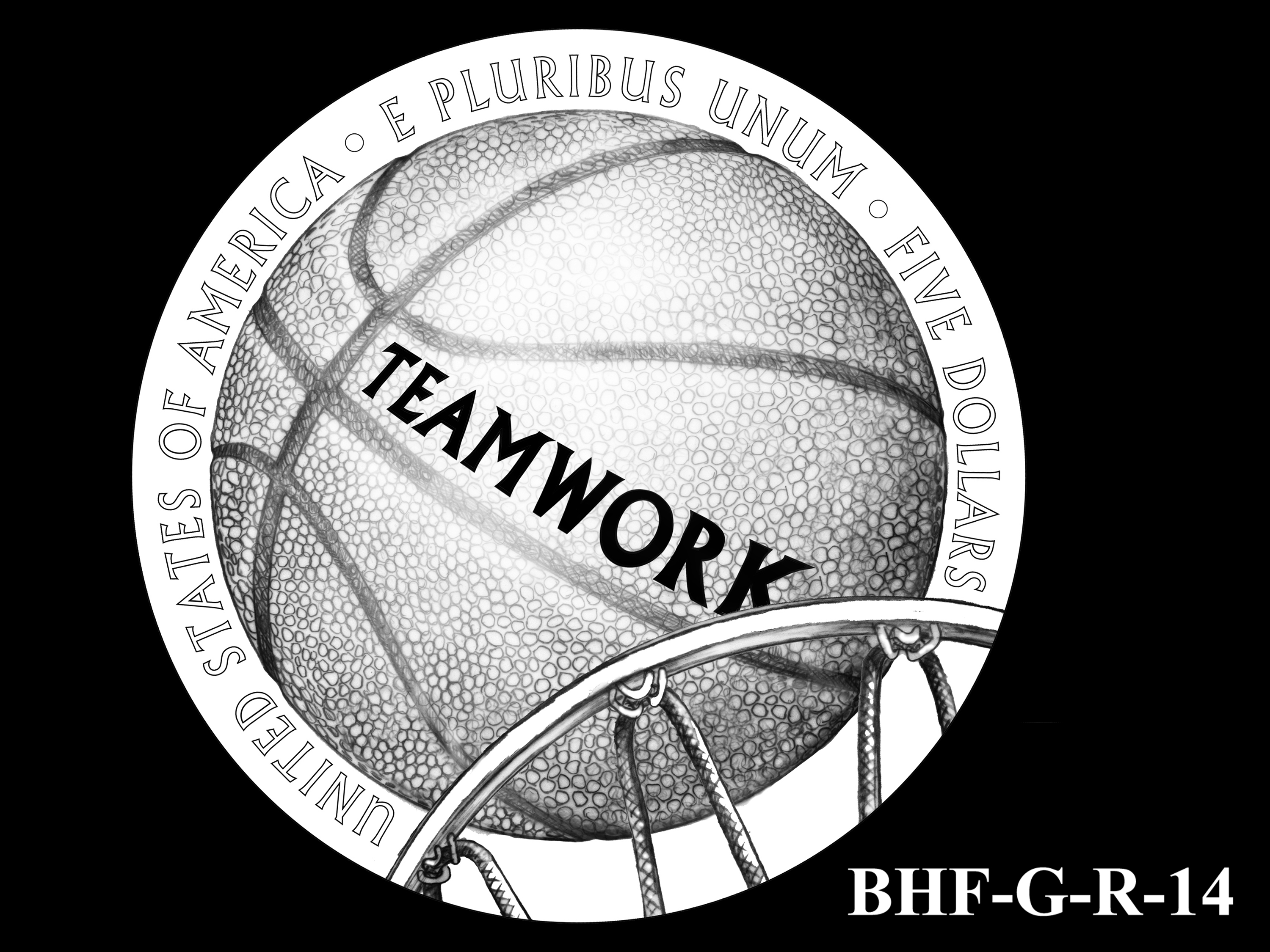 BHF-G-R-14 -- 2020 Basketball Hall of Fame Commemorative Coin Program - Gold Reverse