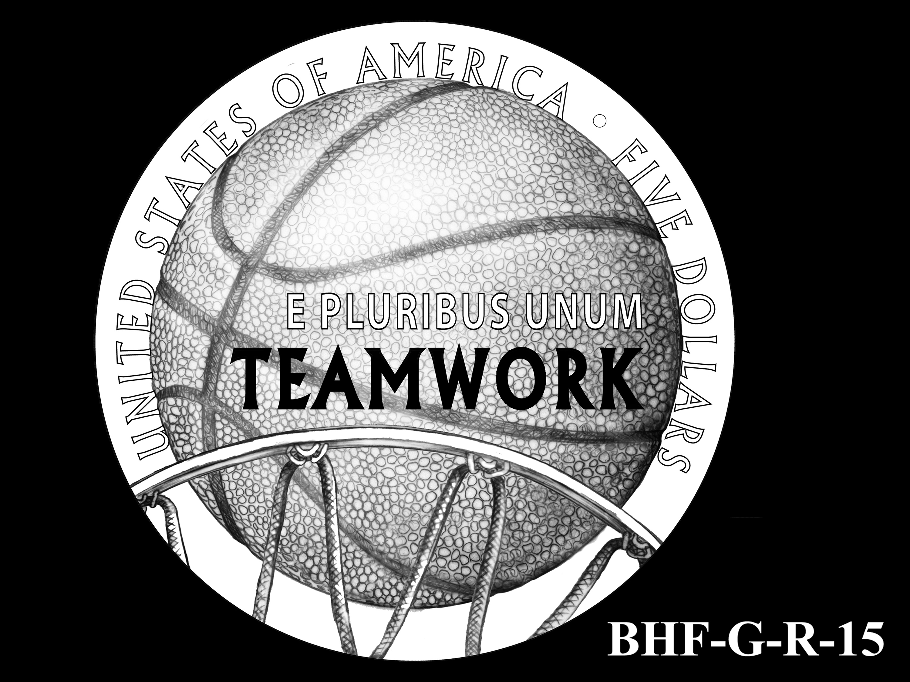 BHF-G-R-15 -- 2020 Basketball Hall of Fame Commemorative Coin Program - Gold Reverse