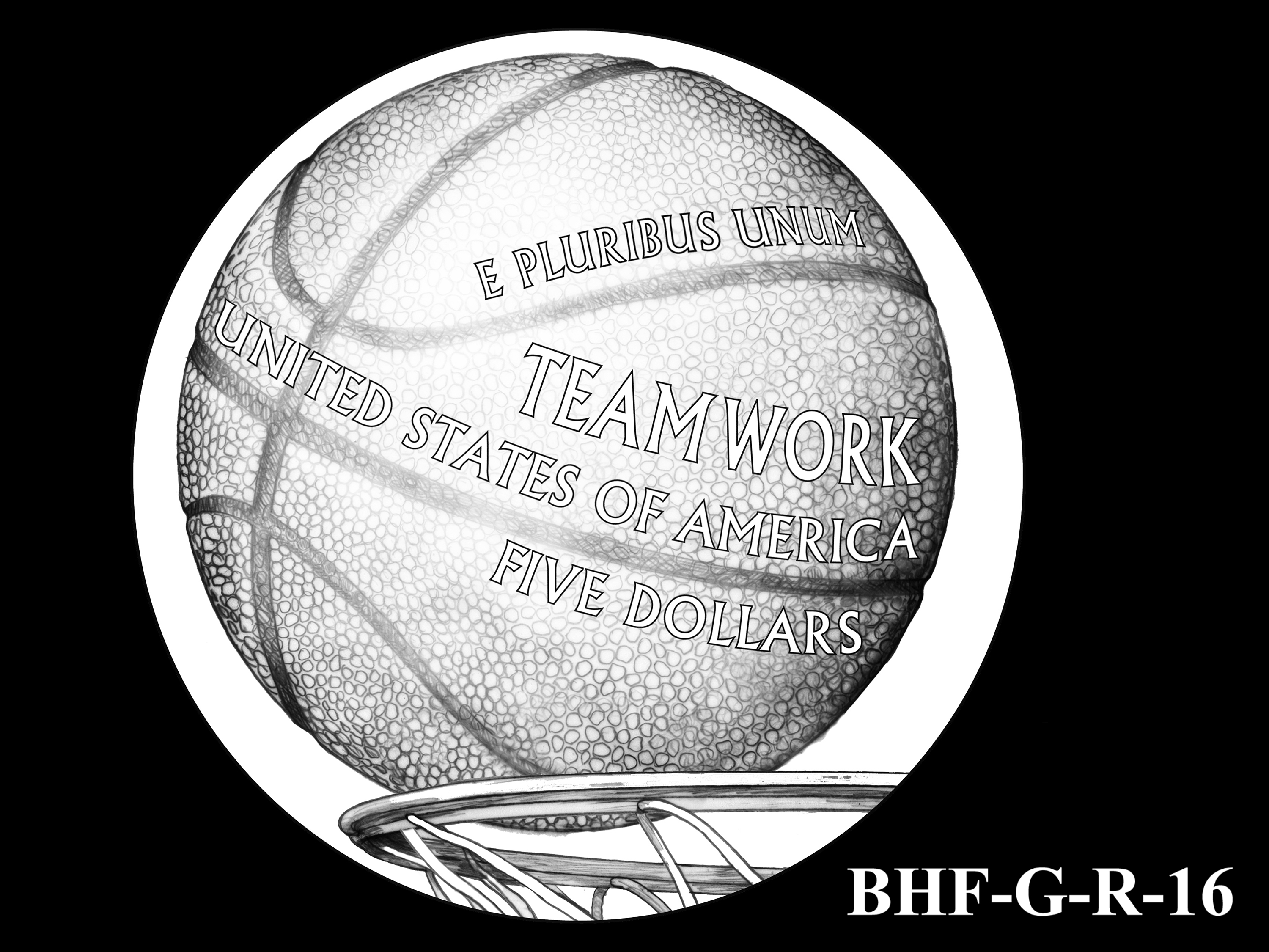 BHF-G-R-16 -- 2020 Basketball Hall of Fame Commemorative Coin Program - Gold Reverse