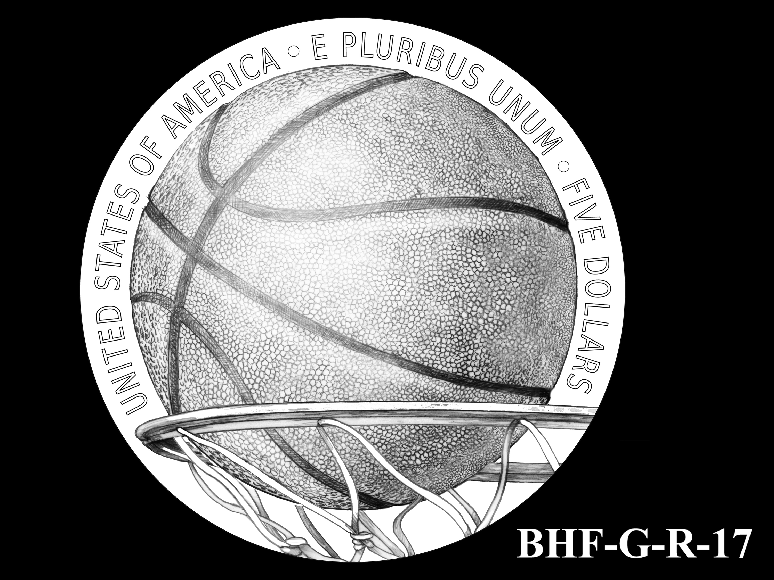 BHF-G-R-17 -- 2020 Basketball Hall of Fame Commemorative Coin Program - Gold Reverse