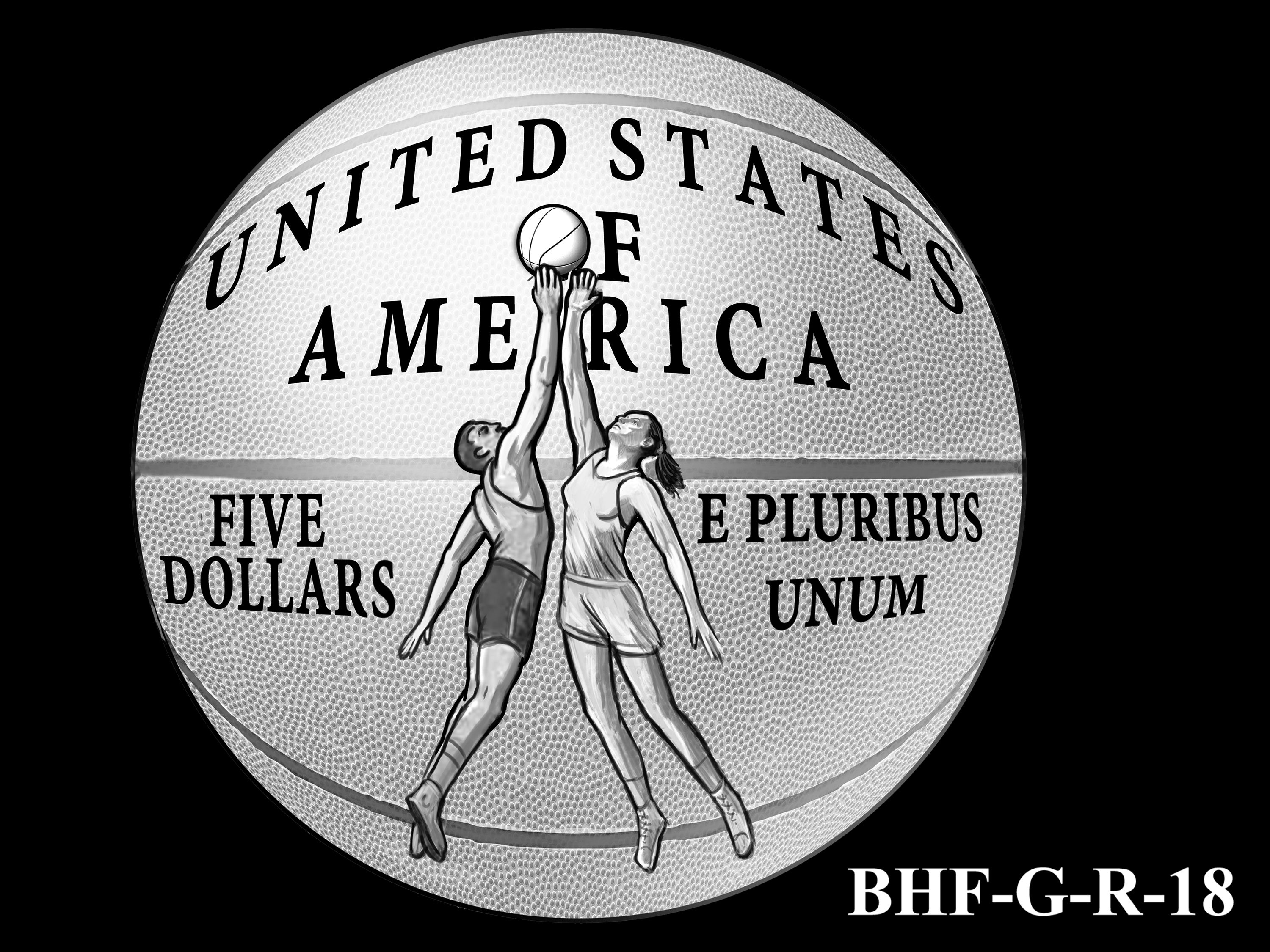 BHF-G-R-18 -- 2020 Basketball Hall of Fame Commemorative Coin Program - Gold Reverse
