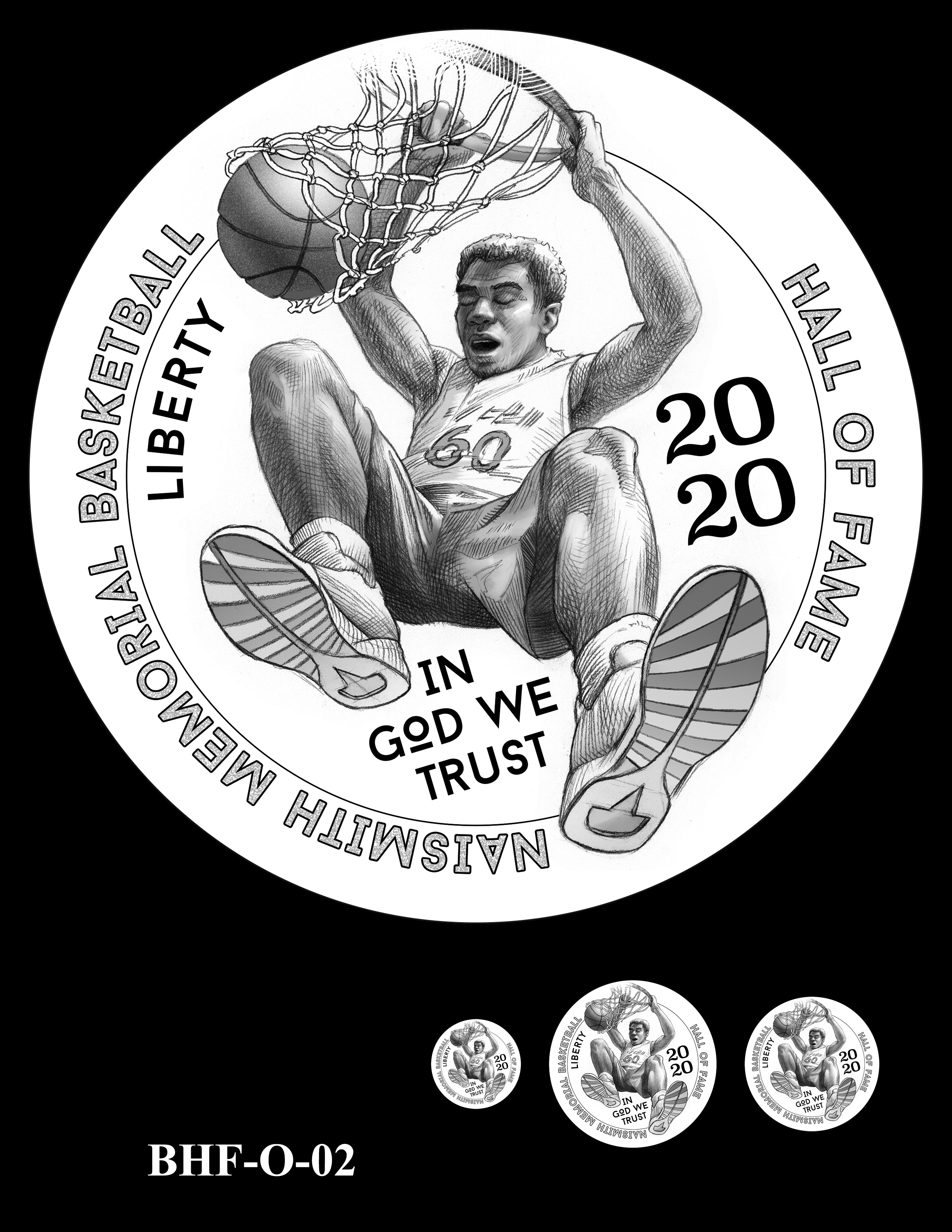 BHF-O-02 -- 2020 Basketball Hall of Fame Commemorative Coin Program - Common Obverse