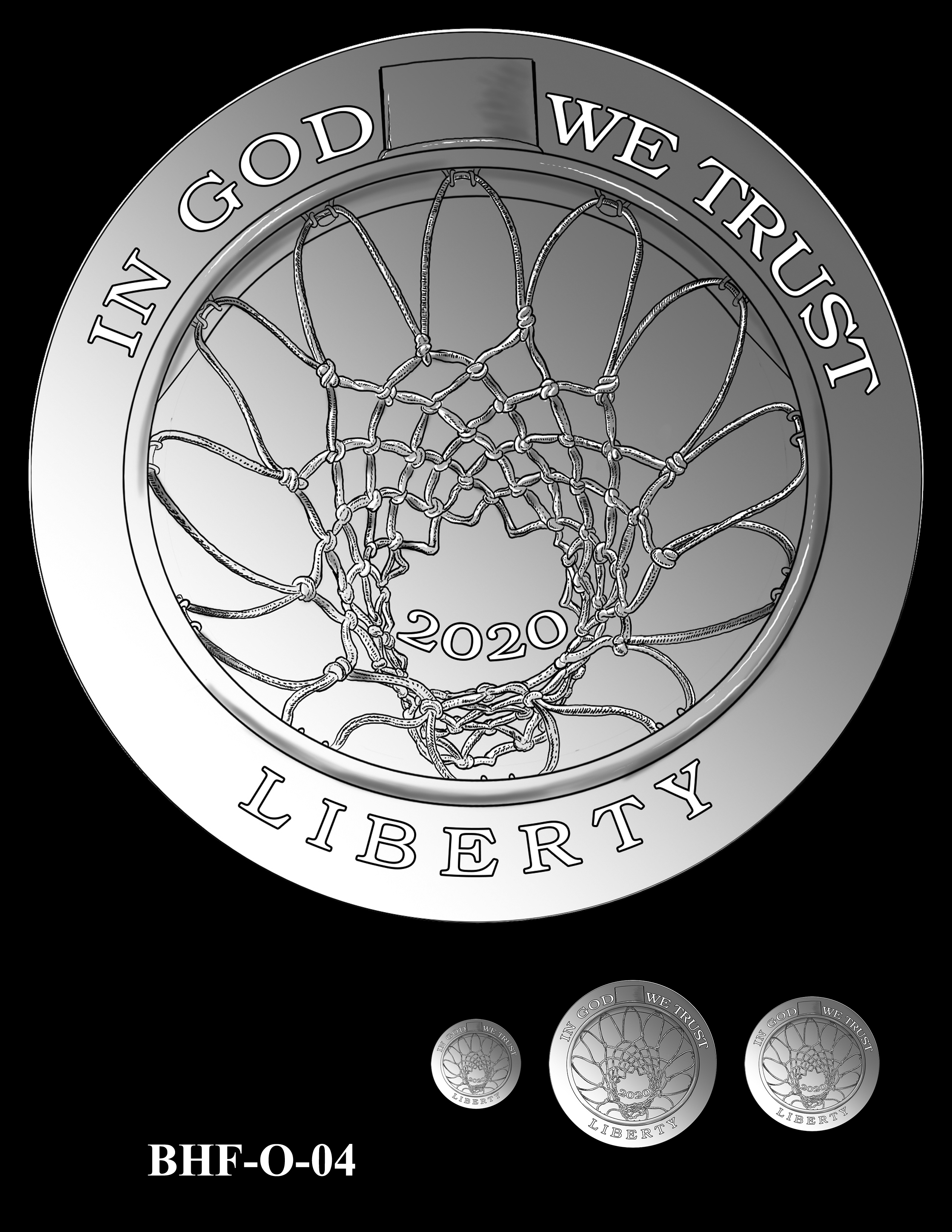 BHF-O-04 -- 2020 Basketball Hall of Fame Commemorative Coin Program - Common Obverse